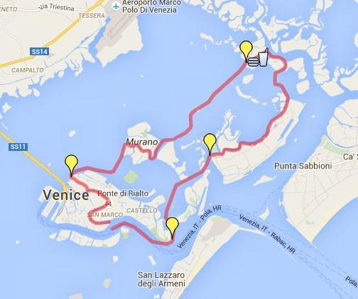 Route de la Vogalonga à Venise