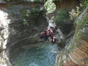 canyoning through the river