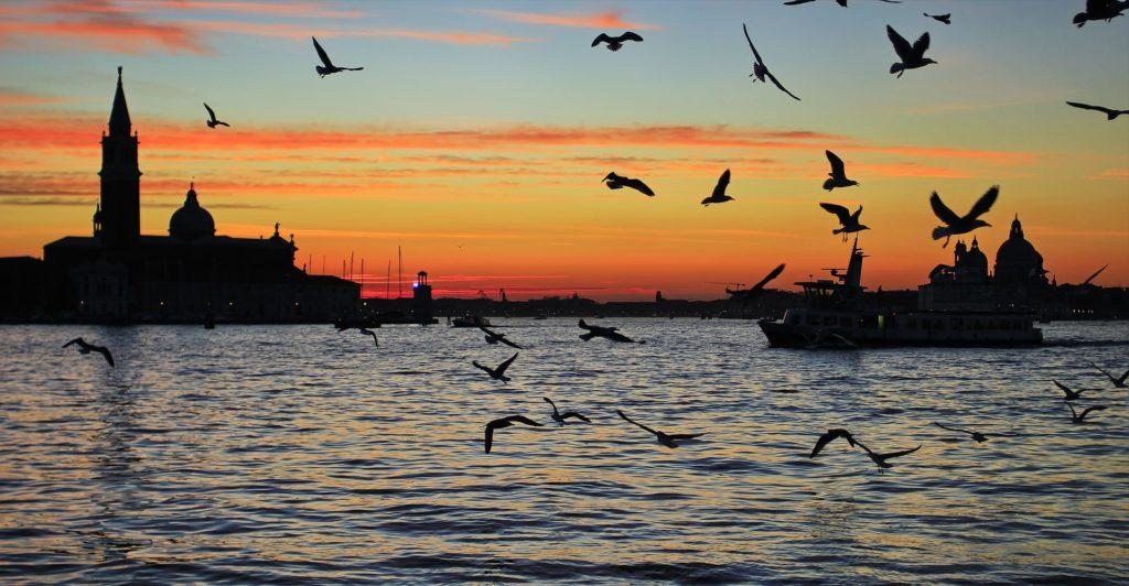 Coucher soleil Venise Lagune