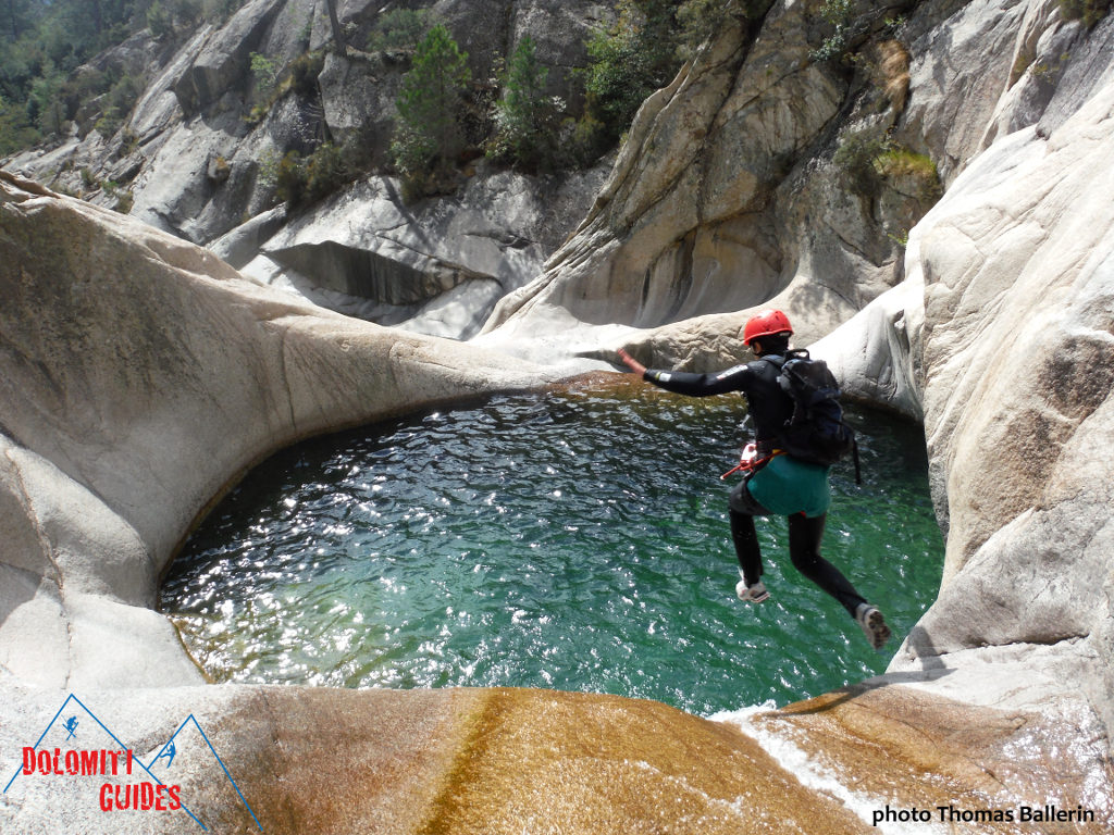 A jump into the canyon pool